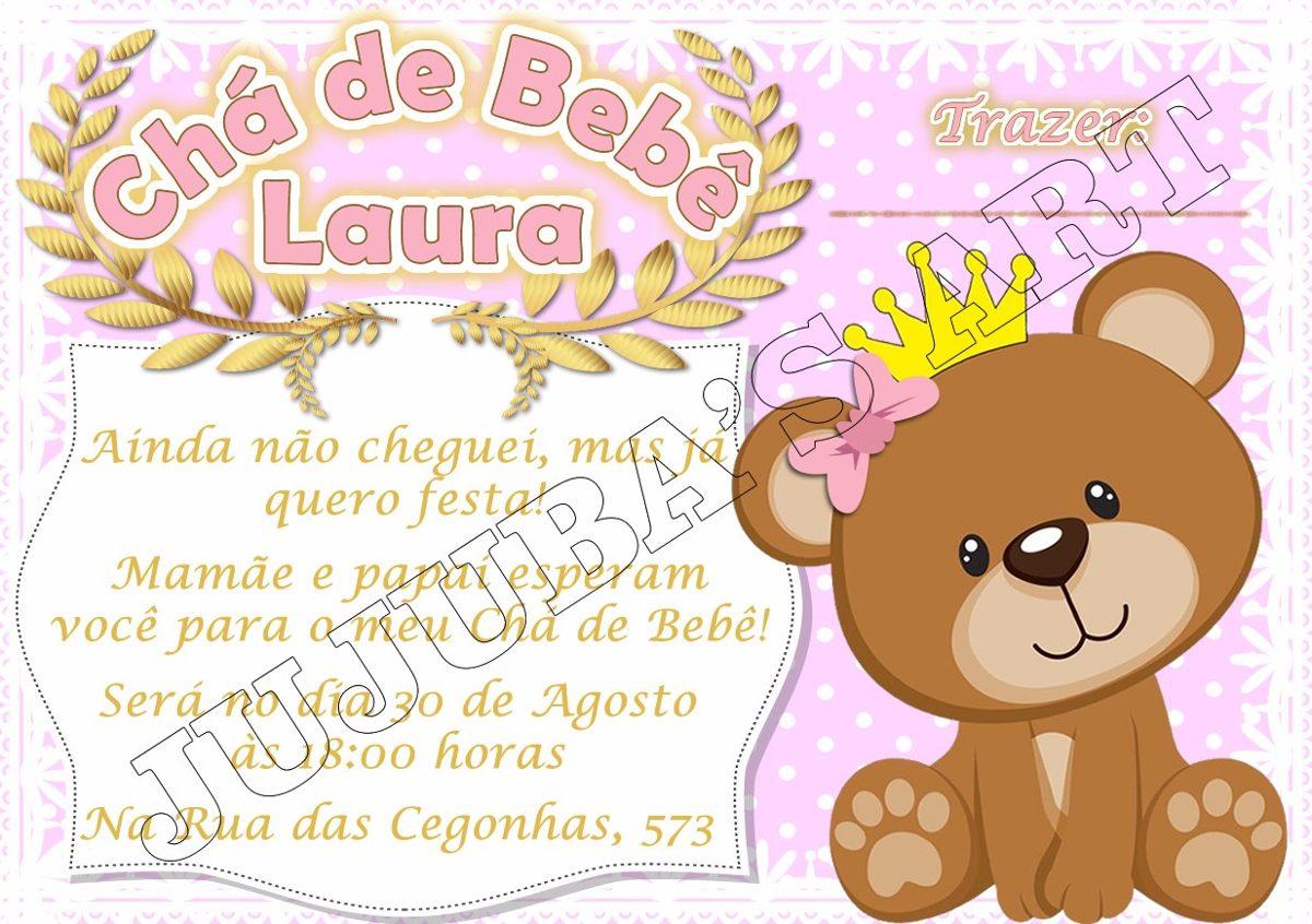 Arte Digital Convite Chá De Bebe Fraldas Urso Coroado Menino R 15