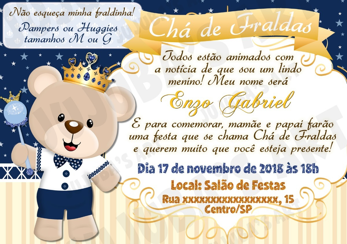 Arte Digital Convite Chá De Fraldas Bebê Urso Príncipe Coroa R 15