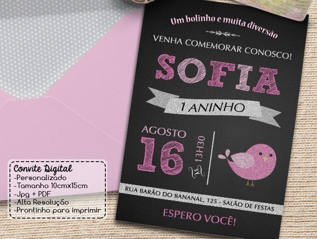 Arte Digital Convite De Passarinho Festa Infantil R 8 00 Em