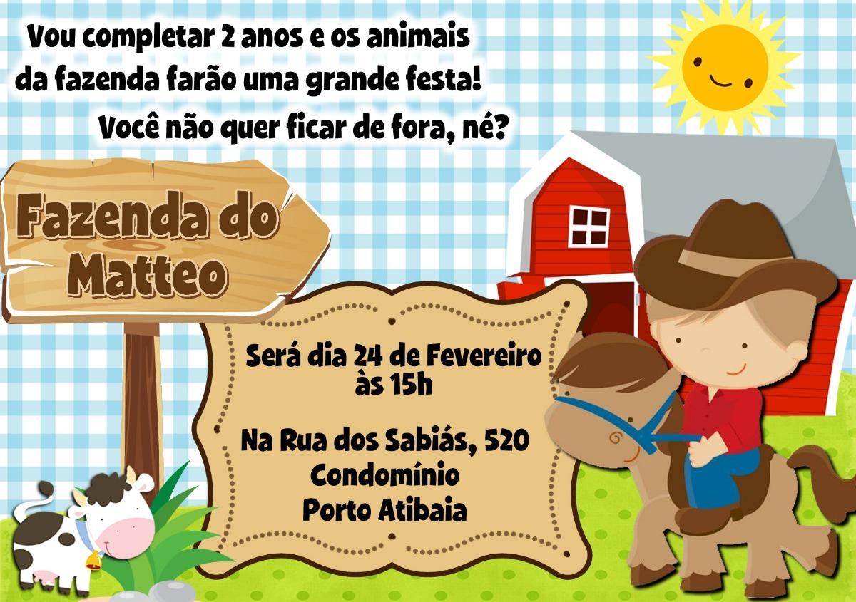 Arte Digital Convite Fazendinha Para Imprimir Em Casa R 15 00