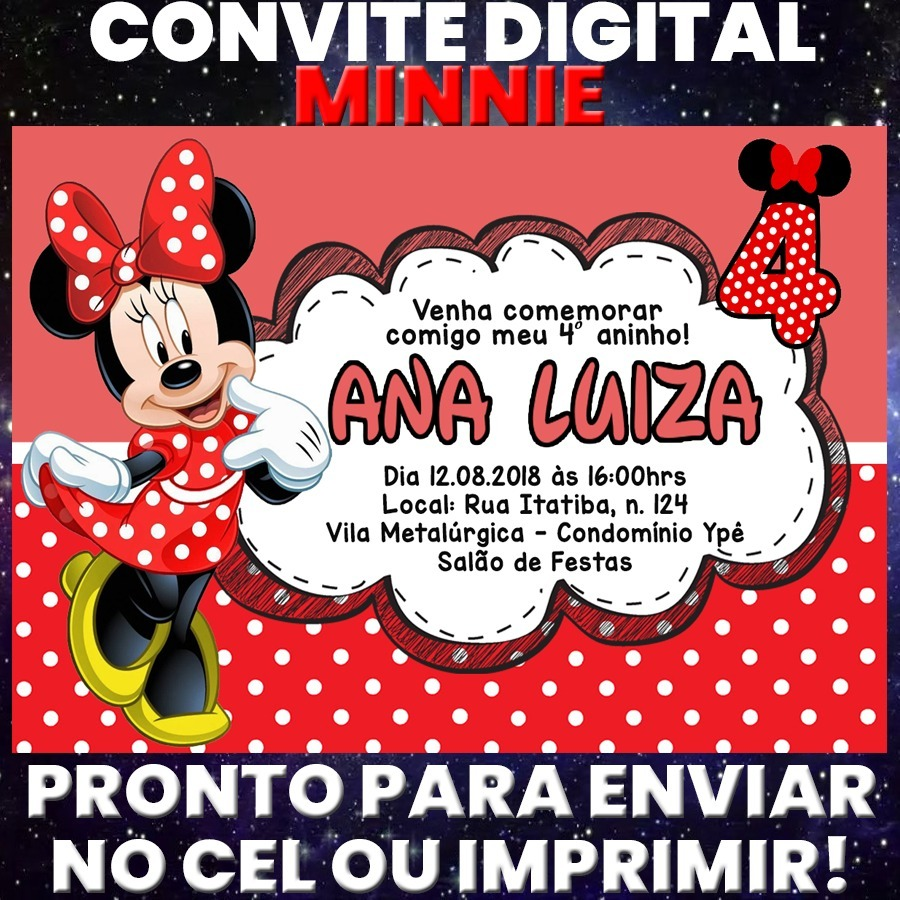 Arte Digital Convite Festa Aniversário Minnie Vermelha R 1200
