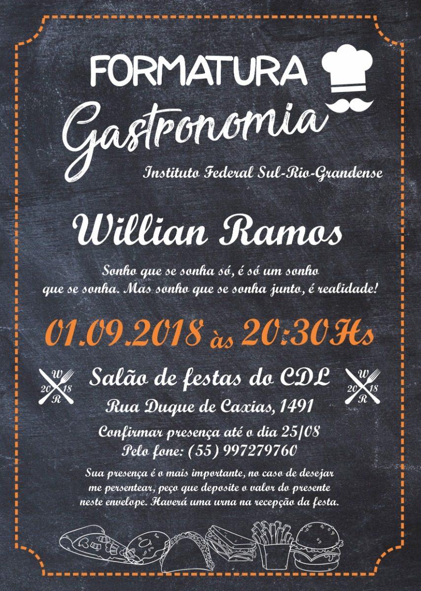 Arte Digital Convite Formatura Gastronomia