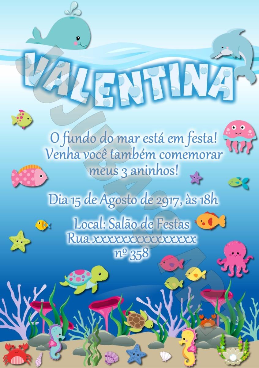 Arte Digital Convite Fundo Do Mar R 1500 Em Mercado Livre