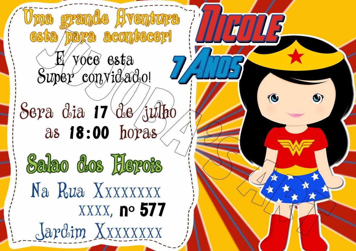 Arte Digital Convite Herois Mulher Maravilha R 15 00 Em Mercado