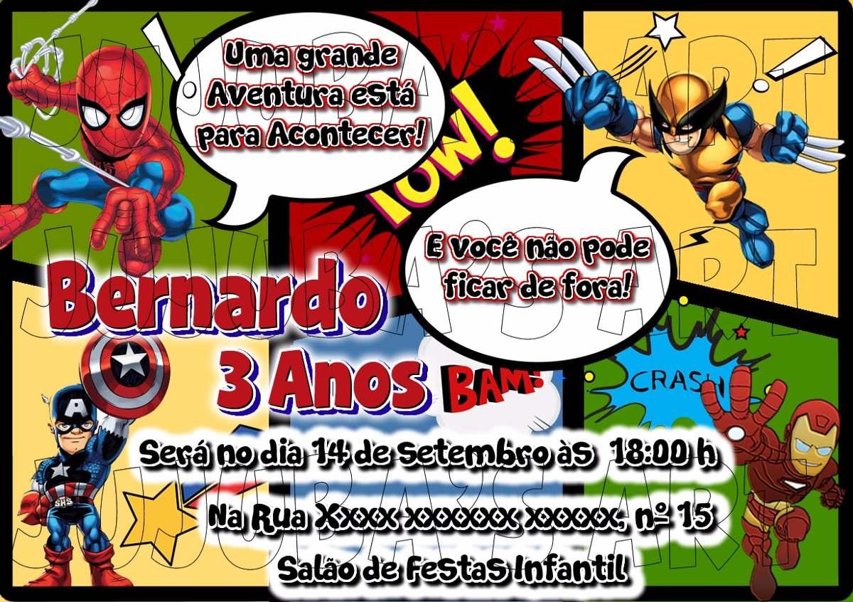 Arte Digital Convite Herois Para Imprimir Em Casa R 15 00 Em