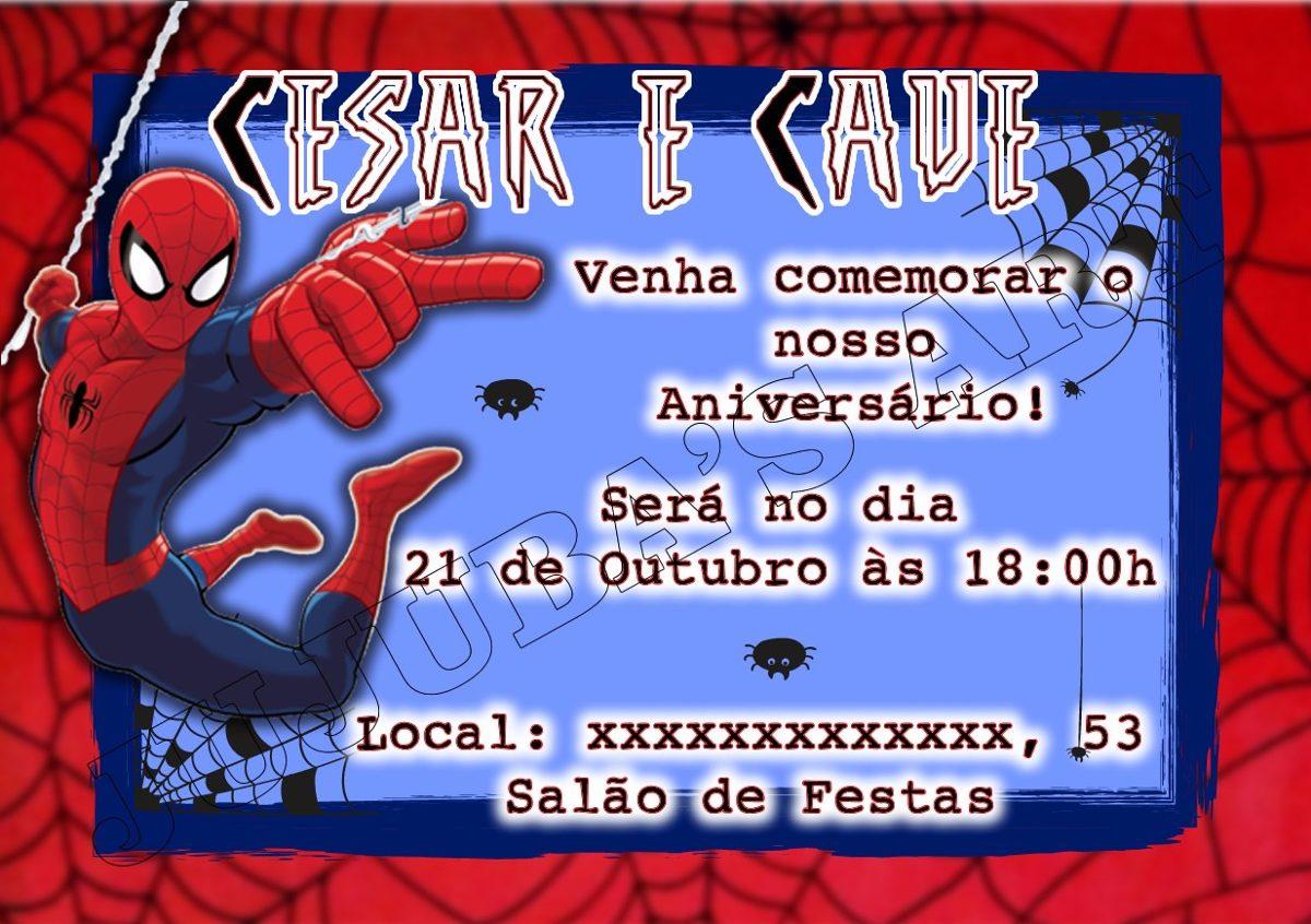 Arte Digital Convite Homem Aranha Para Imprimir Em Casa R 15 00