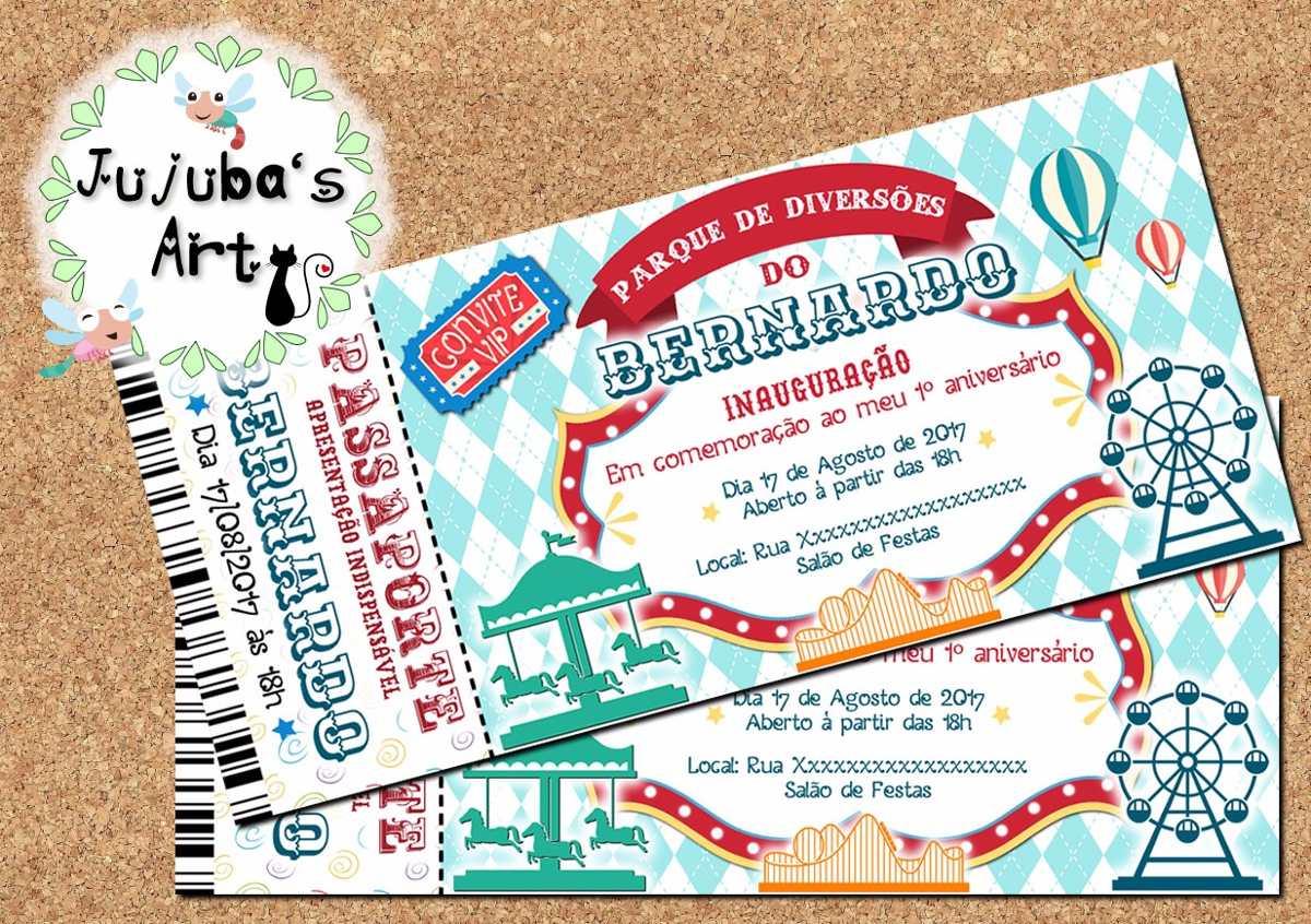 Arte Digital Convite Ingresso Passaporte Parque De Diversoes R