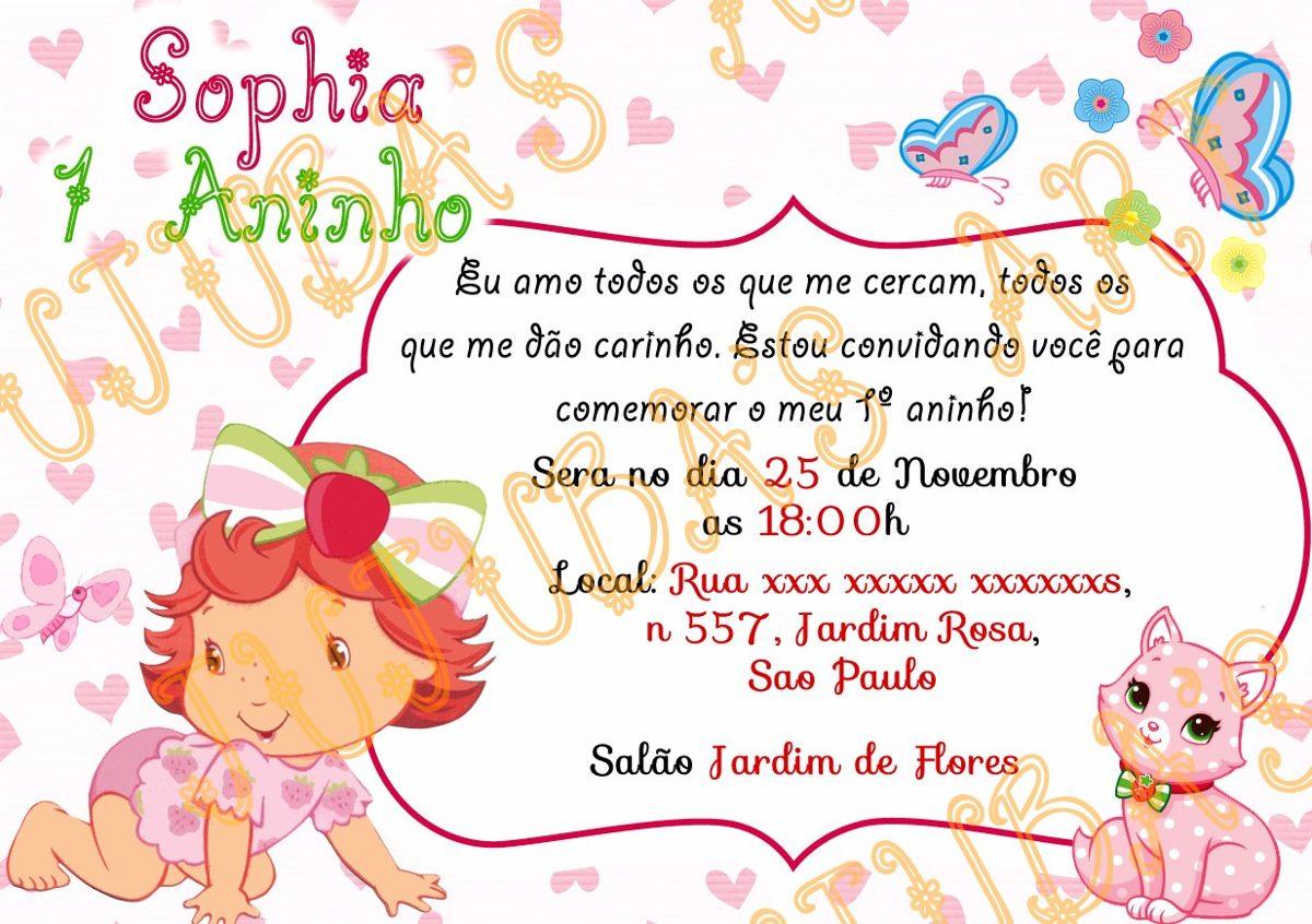 Arte Digital Convite Moranguinho Baby Para Imprimir Em Casa R
