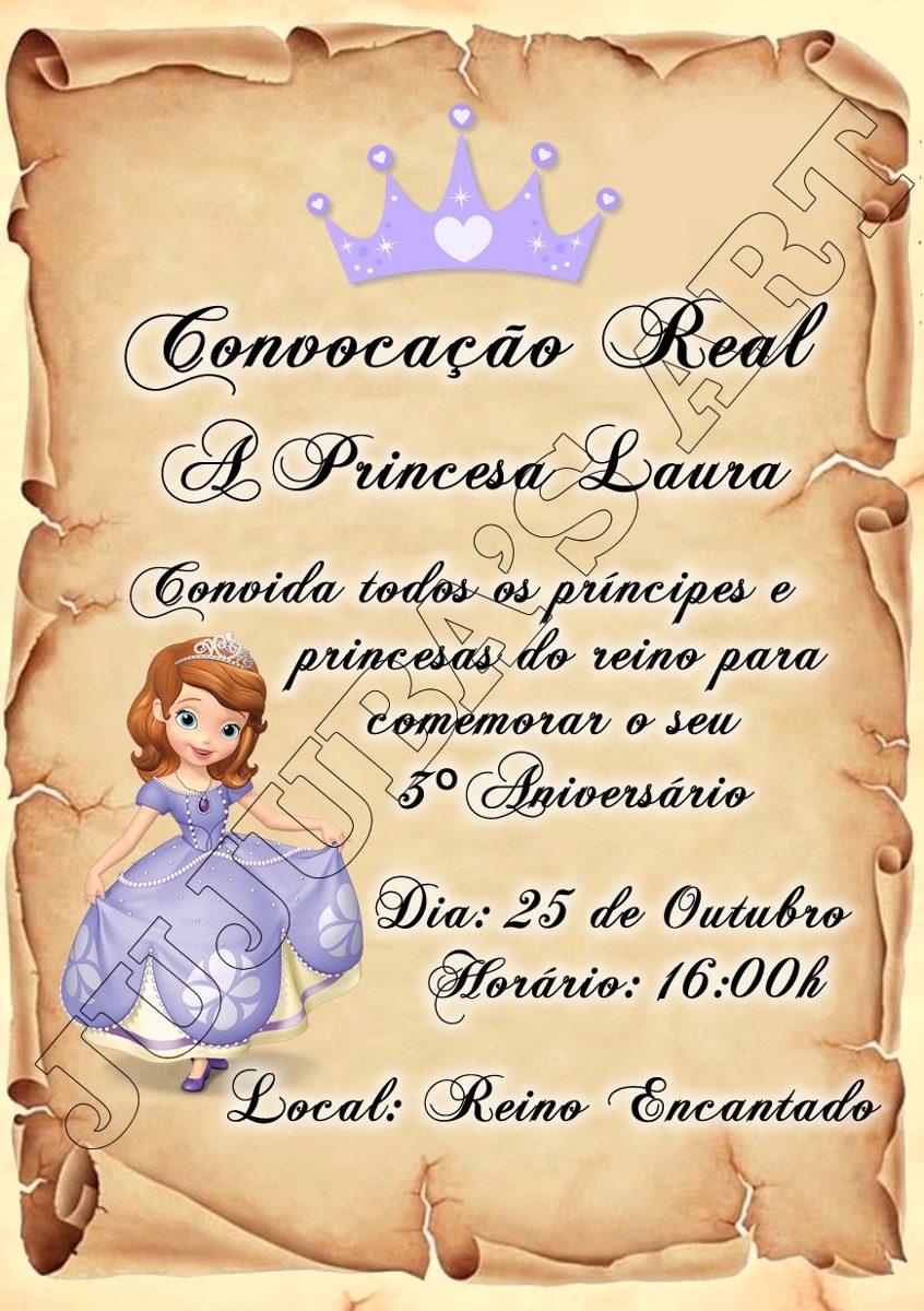 Arte Digital Convite Princesa Sofia Para Imprimir Em Casa R 15