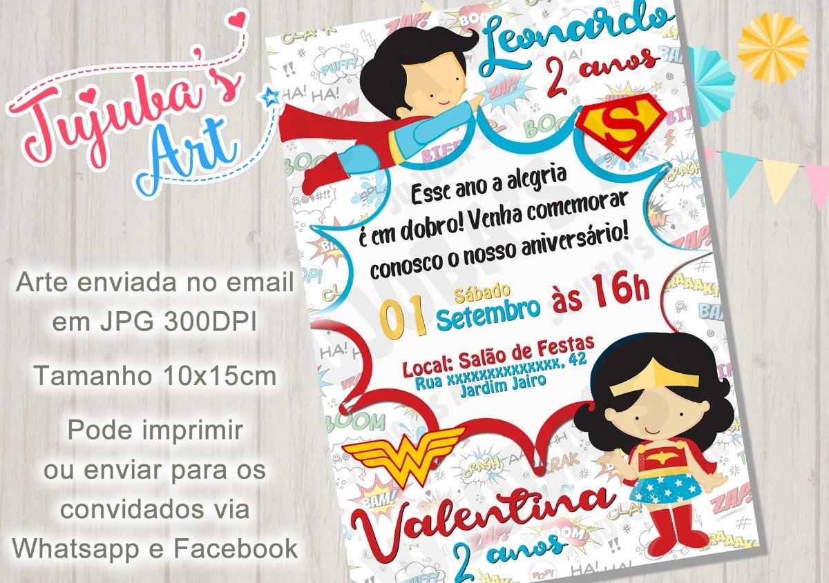 Arte Digital Convite Superman E Mulher Maravilha R 15 00 Em
