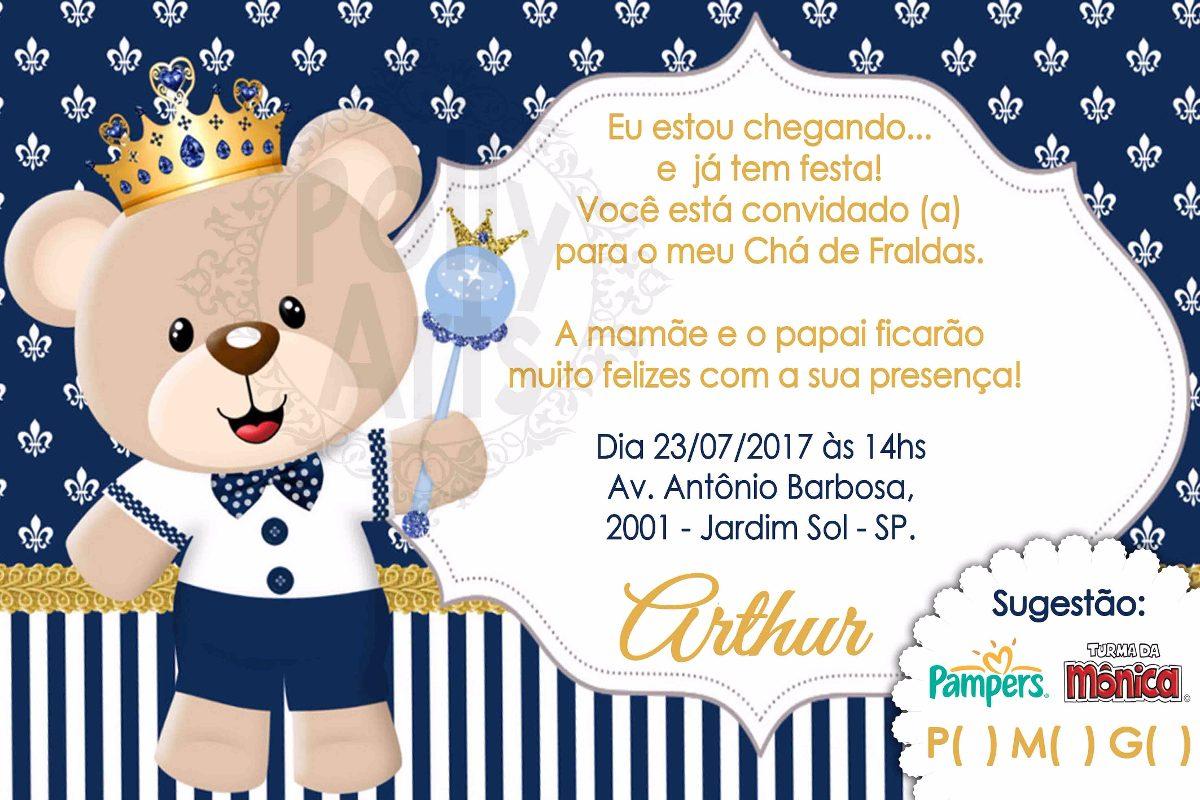 Arte Digital Convite Ursinho Príncipe Chá Ou Aniversario R 1790