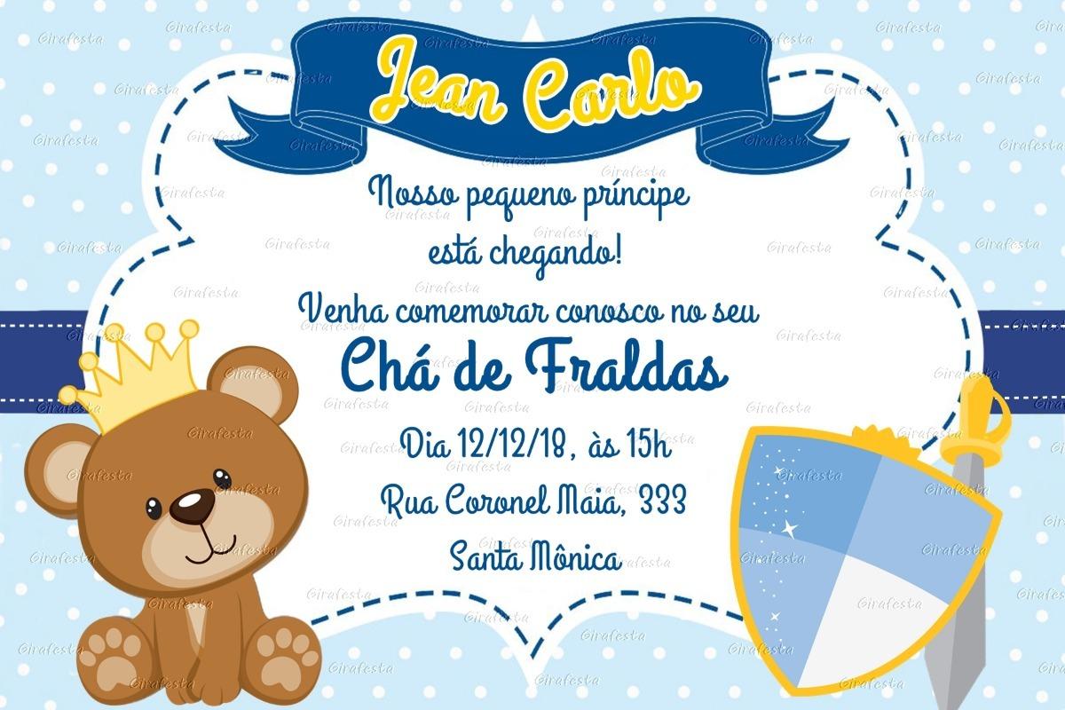 Arte Digital Convite Ursinho Príncipe Chá Todos Os Temas R 1700