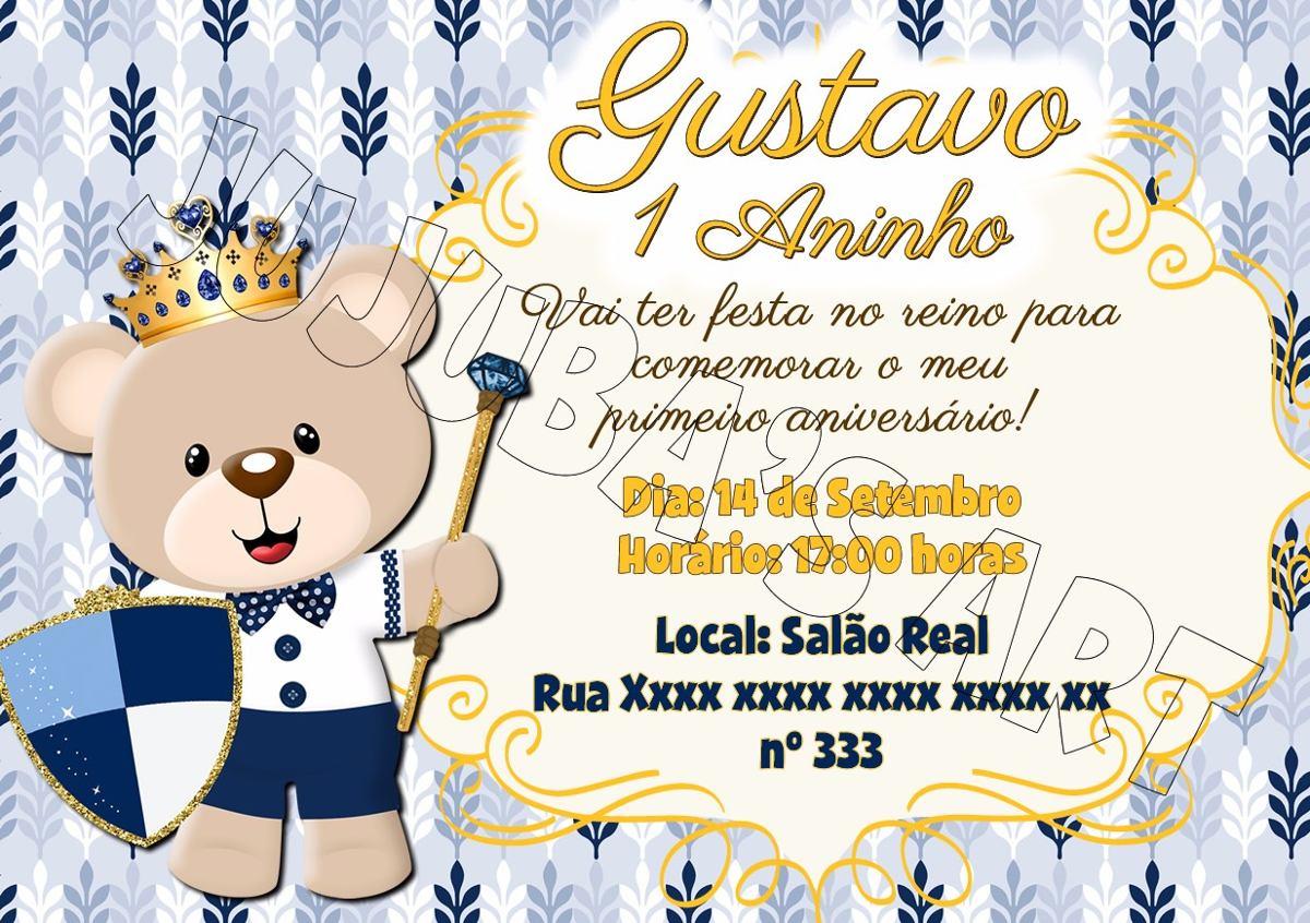 Arte Digital Convite Urso Coroa Ursinho Príncipe Reinado R 1500