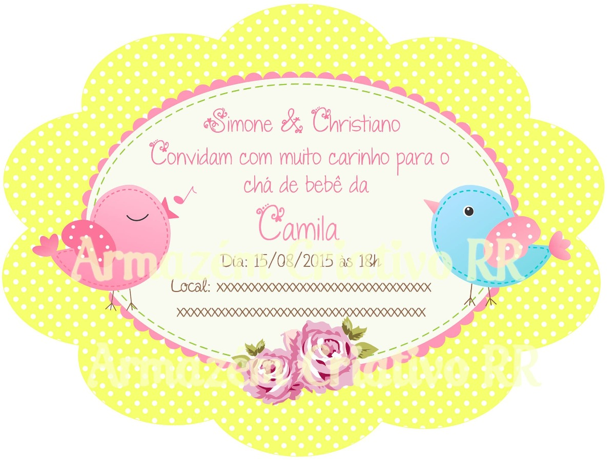 Arte Digital Personalizada Convite Passarinhos Cha De Bebe R 6