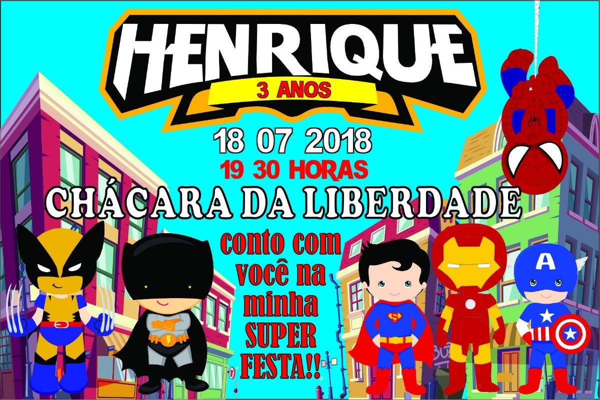 Arte Digital Profissional Convite Super Heróis R 1100 Em