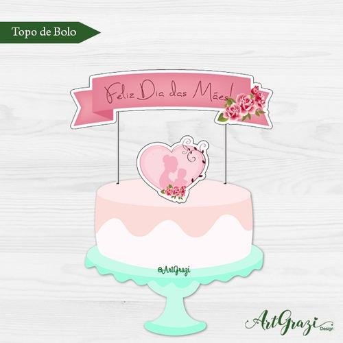 arte digital - topo de bolo dia das mães