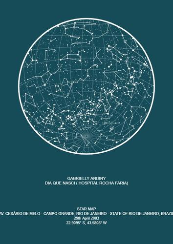 arte do quadro mapa do céu personalizada
