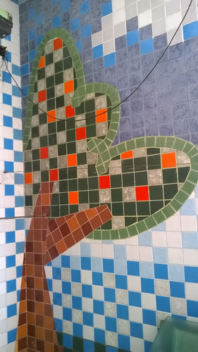arte em sua parede em forma de mosaico
