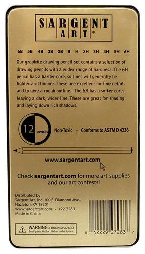 arte sargent 22-7283 de 12 piezas de grafito dibujo de lápiz