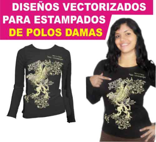 Artes vectores serigrafia estampado transfer polos damas for Disenos para estampar
