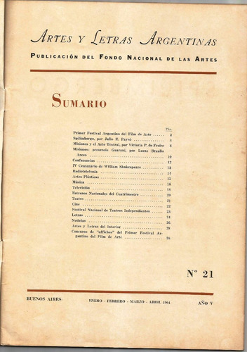 artes y letras argentinas año v nº 21 - revista de arte 1964