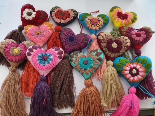 artesanal chiapas corazón bordado a mano 1 docena