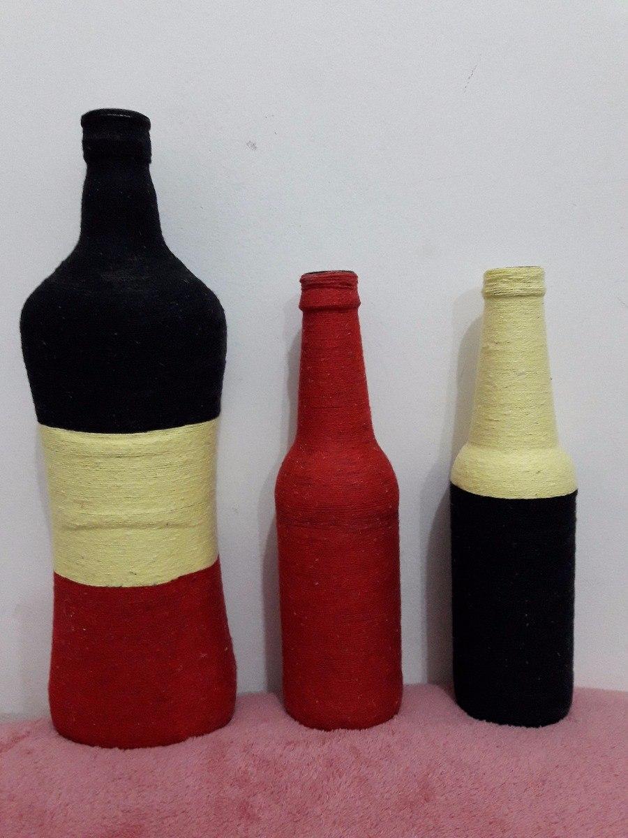 Artesanato Feito Garrafas De Vidro Preto Amarelo E Vermelho R 74
