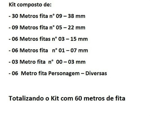 artesanato kit fitas de cetim tiaras  60 metros - (cod 1017)