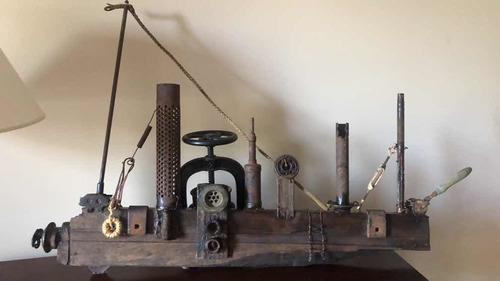 artesania- barco en madera y hierro