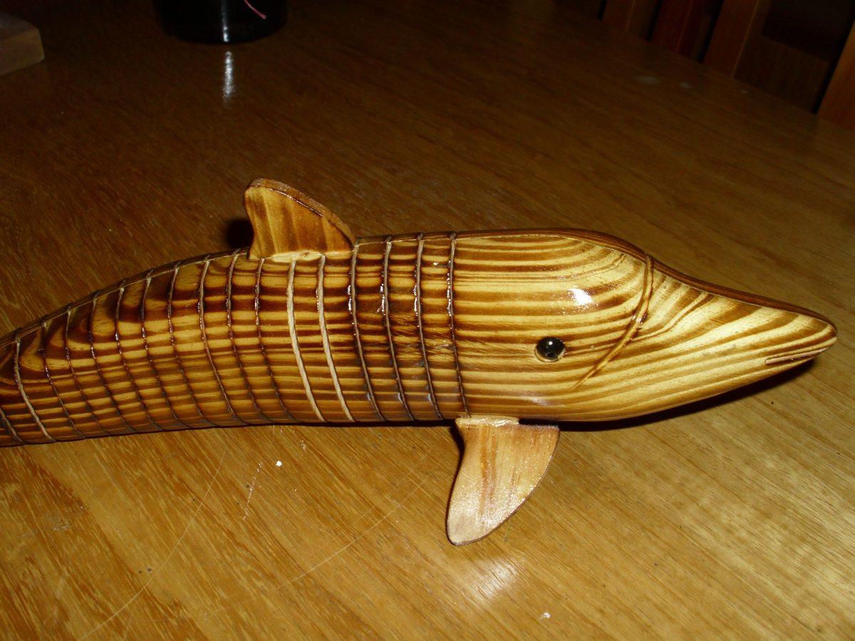 Artesan a en madera delf n articulado nico 34cm muy for Artesanias en madera