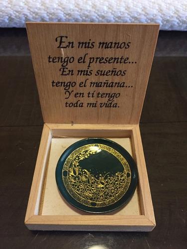 artesanía mexicana miniplato laca oro 23 k