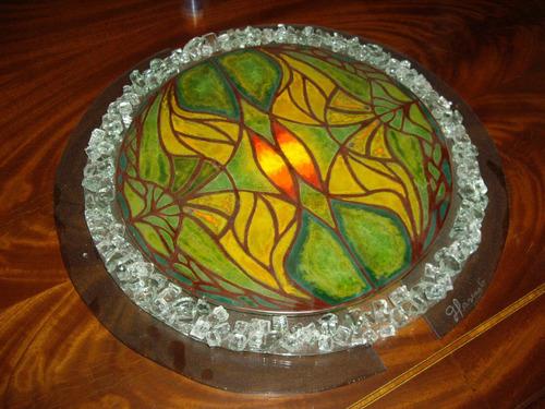 artesania vitrofusion, 39 cm diametro, triple capa d vidrio