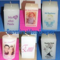 Velas Personalizadas Souvenirs Bautismo,casamiento,15 Años,