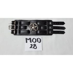 c90fb7b7e9bb Pulcera Muñequera Brazalete De Piel Color Negro en Mercado Libre México