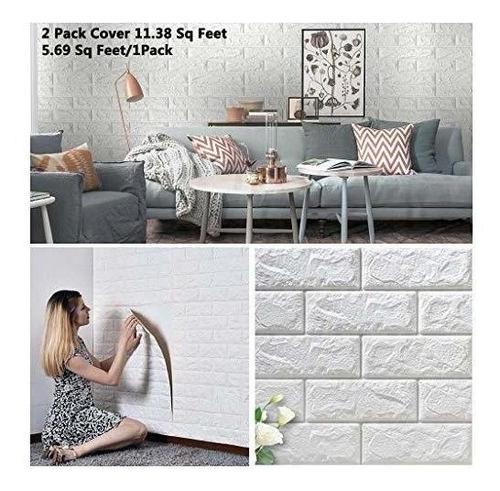 arthome white brick paneles de pared 3d papel tapiz