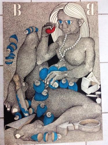 arthur cantalice, raro desenho à bico de pena, 96x66, 1986