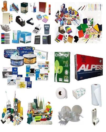 artículos de oficina, papelería, desechables, limpieza.