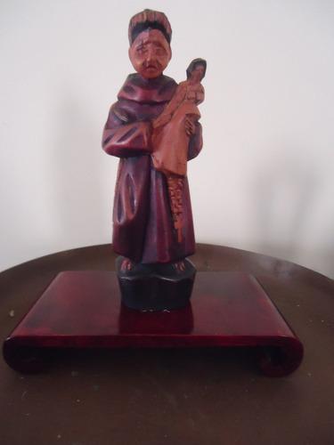 artística escultura de são josé em peanha de madeira
