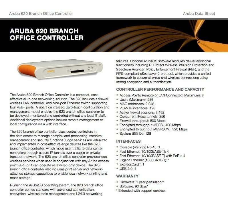 Aruba 620 Us Controlador Poe 8 Portas Access Point Perfeito