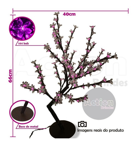 árvore abajur cerejeira 144 leds 60cm rosa 220v