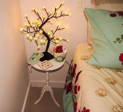 árvore abajur decoração flor cerejeira led branco
