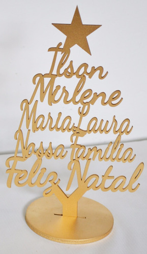 arvore de natal com nomes da familia dourado mdf