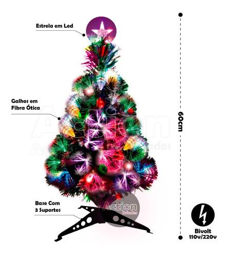 árvore de natal fibra ótica led 60cm
