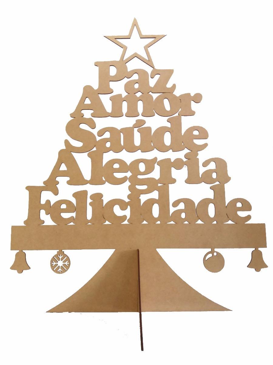 árvore Natal Mdf Amor Felicidade Paz Saúde Alegria 30cm
