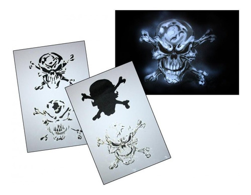 as pirate skull airbrush stencil template step step si...
