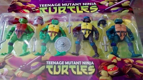 as tartarugas ninjas kit com 4 bonecos + acessórios pronta e