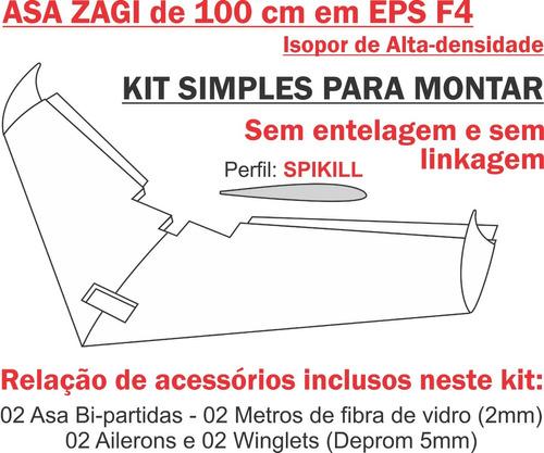 asa zagi 100cm em eps (isopor f4) kit básico