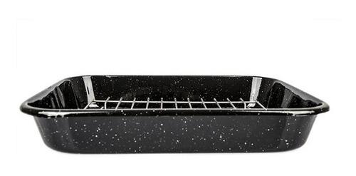 asadera enlozada con rejilla desgrasadora para horno 38x32cm