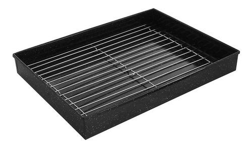 asadera enlozada recta con rejilla 26x36 horno fuente asado