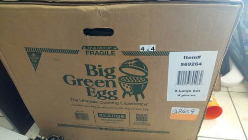asador ceramico big green egg xl, con base y laterales